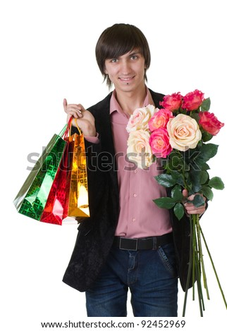 Valentines Man with flowers and shopping bags isolated on white background - stock photo