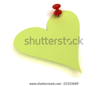 Valentines notes with pushpin - stock photo