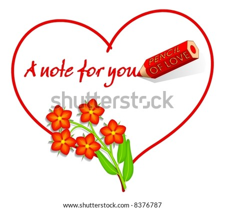 "Valentines or all year round love note with Scarlet pimpernel aka ""Red Chickweed"", ""Poor man's weather-glass"" isolated on pure white background so it's easy to add more white space for your text. - stock photo"