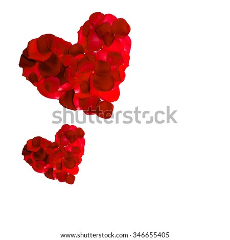 valentines red  rose petal heart isolated on white background