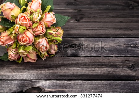 Valentines Roses On Rustic Wood Background Flowers Backgrounds