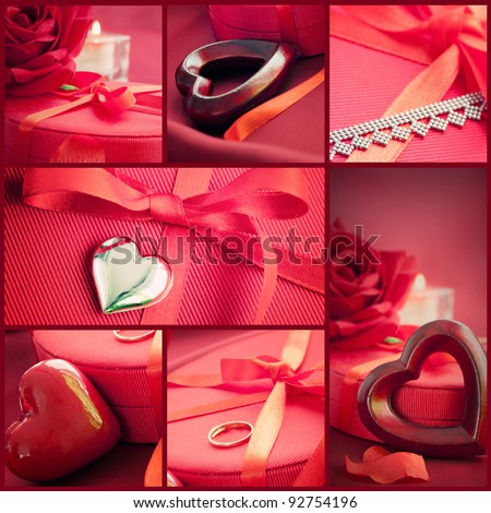 Valentines series. Collage of fancy Valentines symbols.  Holiday luxury table setting with beautiful red hearts and jewlery presents. - stock photo