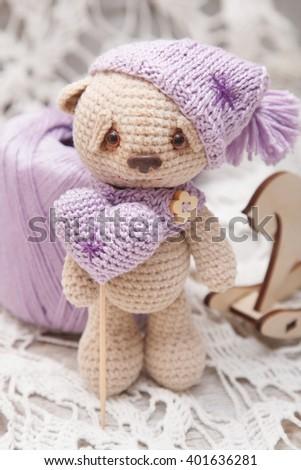 Valentines teddy bear - stock photo