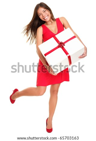 Valentines woman playful, joyful and excited standing isolated in full length on white background. Asian Chinese / white Caucasian model.