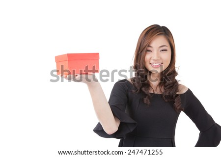 Valentines woman playful, joyful and excited standing isolated on white background. Asian Chinese / white Caucasian model. - stock photo