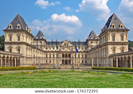 Valentino Castle - former residence of Royal House of Savoy, currently is the seat of Polytechnic University Architecture Faculty in Turin, Italy. - stock photo