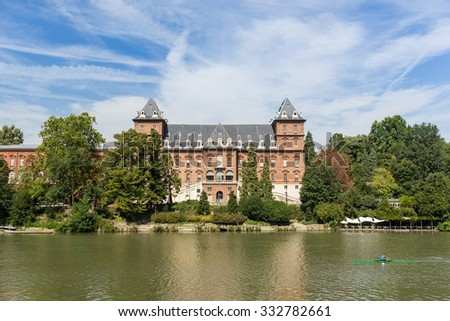 Valentino castle in front of Po river, Turin - stock photo