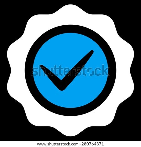 Valid icon from Competition & Success Bicolor Icon Set on a black background. This isolated flat symbol uses light blue and white colors. - stock photo