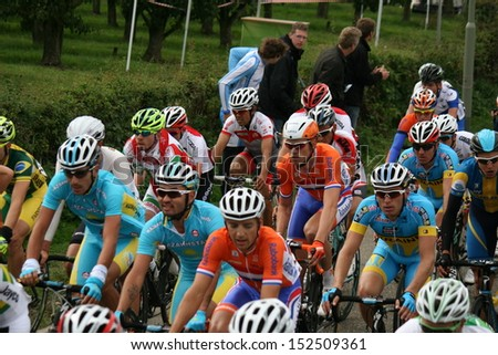 VALKENBURG, NETHERLANDS - SEPTEMBER 29 : Profesional cyclists during the cycling world championship September 29,2012 in Valkenburg, The Netherlands.  - stock photo
