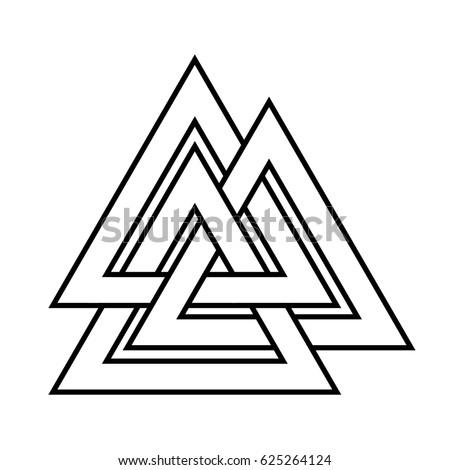 Valknut Symbol World End Tree Yggdrasil Stockillustratie 625264124