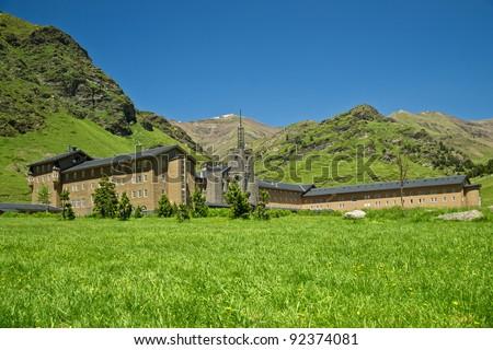 Vall de Nuria in the catalan pyrenees, Spain - stock photo