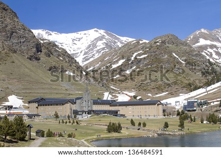 Vall de Nuria or Valley of Nuria, a beautiful valley located in the Pyrenees, Spain. - stock photo