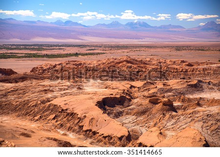 Valle de la Luna (Moon Valley) close to San Pedro de Atacama, Chile - stock photo