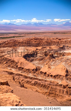 Valle de la Luna (Moon Valley) close to San Pedro de Atacama, Chile - stock photo