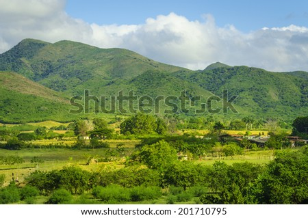 Valle de los Ingenios (Valley sugar mills) in Cuba, a famous tourist destination and a major sugarcane growing area  - stock photo