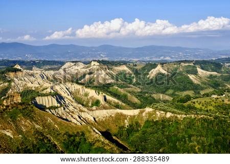Valle dei Calanchi, Bagnoregio, Viterbo, Italy - stock photo