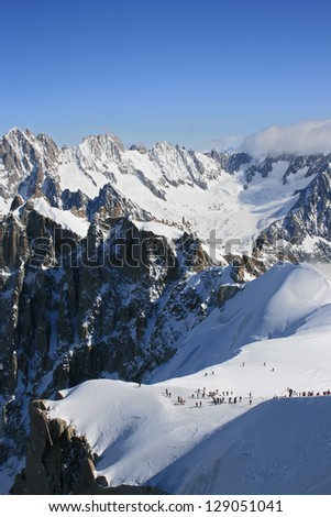 Vallee Blanche, Chamonix. Mountains under the snow on a winter day.