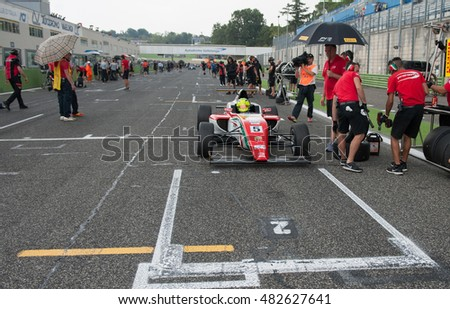 Vallelunga, Rome, Italy. September 10th 2016. Formula 4 Championship, Mick Schumacher on starting line before the race
