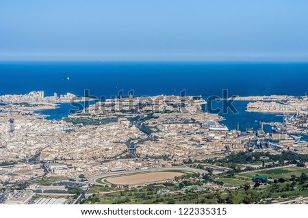 Valletta Citta Umilissima in Malta as seen from the air - stock photo