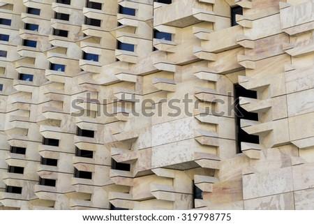 VALLETTA / MALTA - AUGUST 8: Architecture details and fragment, architecture fragment, urban city view, urban construction, architecture detail close up on August 8, 2014 in Valletta MALTA - stock photo