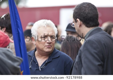 VALLETTA, MALTA - DEC 17 - TV presenter Peppi Azzopardi during a rally n favour of the decriminalisation and legalisation of cannabis and hemp, on 17 December 2011 - stock photo