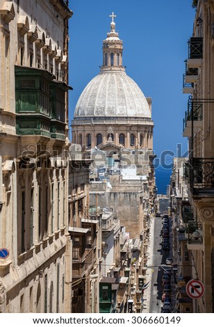 VALLETTA, MALTA - JULY 17: Carmelite church in Valletta on July 17, 2015 in Valletta