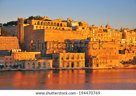 Valletta on daybreak, Malta - stock photo