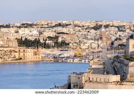 Valletta Skyline at sunset - stock photo
