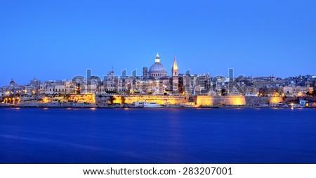Valletta Skyline in the Evening, Malta - stock photo