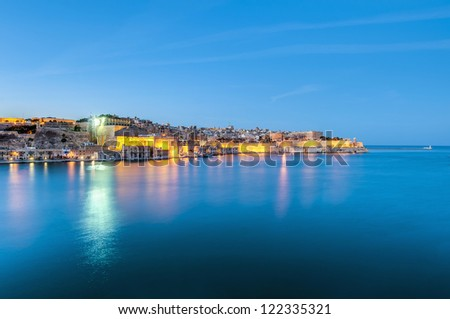 Valletta south waterfront as seen from the Grand Harbour, Malta - stock photo