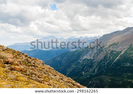 Valley and Mountains at Rocky Mountain National Park - stock photo