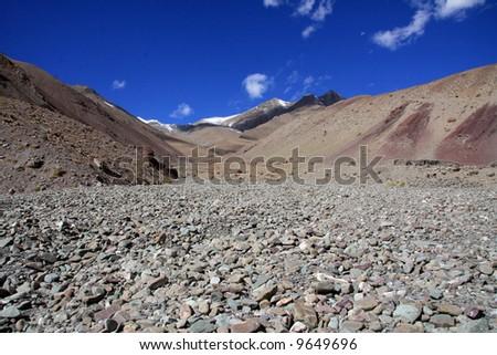 Valley and Mountains - Himalayas, Mountain Climb- Stok Kangri (6,150m / 20,080ft), India - stock photo