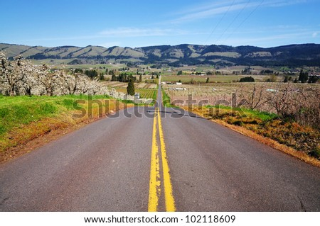Valley and road in hood river - stock photo