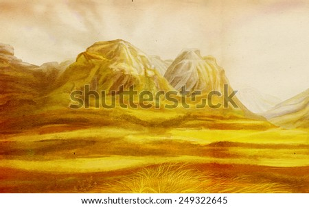 Valley before the majestic mountains. Digital drawing. - stock photo