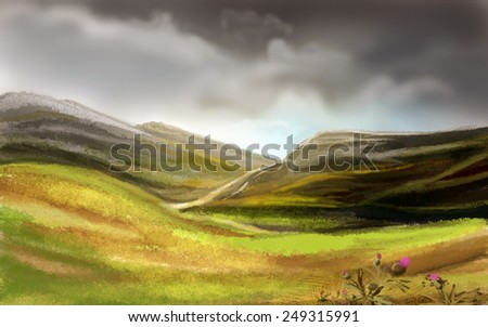 Valley before the majestic mountains. Digital sketch. - stock photo
