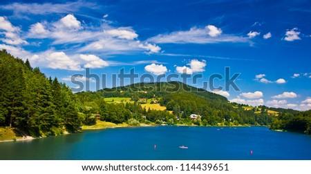 Valley dam Bystricka in Wallachia region - vibrant color - stock photo