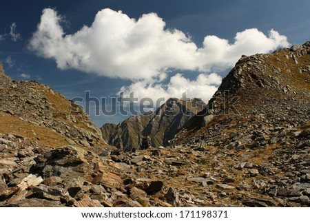 valley in Aragon Pyrenees on french-spanish border - stock photo