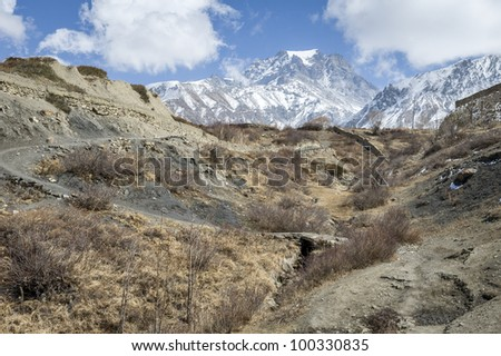 Valley in Himalaya mountains, Nepal, Asia - stock photo