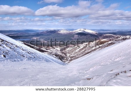 Valley in the Cairngorms, Scotland during winter - stock photo
