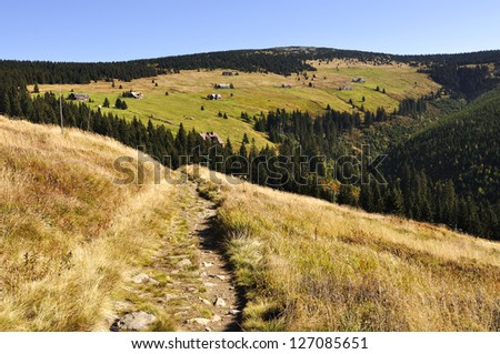 Valley in the national park Krkonose Czech - stock photo