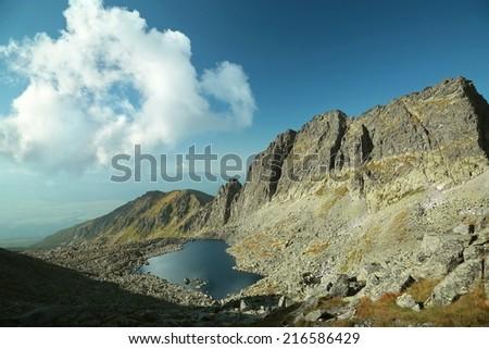 Valley in the Tatra National Park, High Tatras in Slovakia. - stock photo