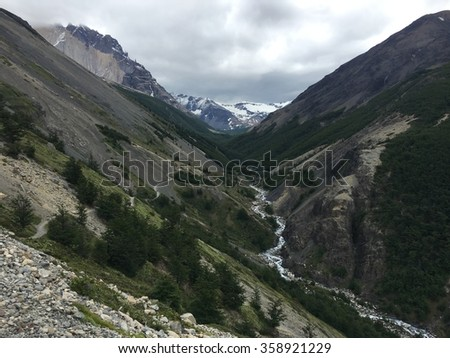Valley in Torres del Paine National Park, Chile - stock photo