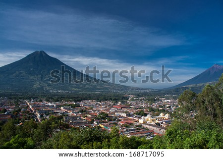 Valley of Antigua Guatemala and two volcanos