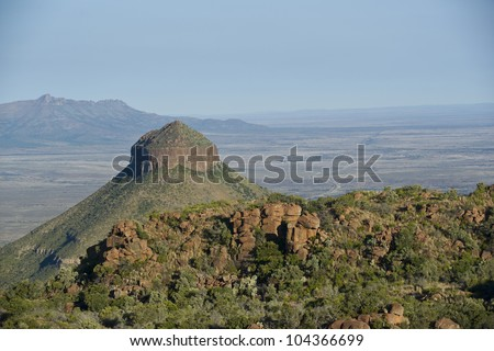 Valley of Desolation in Camdeboo National Park near Graaff-Reinet in the Eastern Cape of South Africa - stock photo