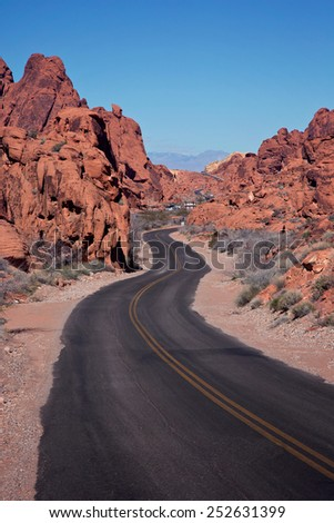 Valley of Fire  Dedicated in 1935, Valley of Fire is Nevada's oldest state park. It is located only 50 miles northeast of Las Vegas.  - stock photo