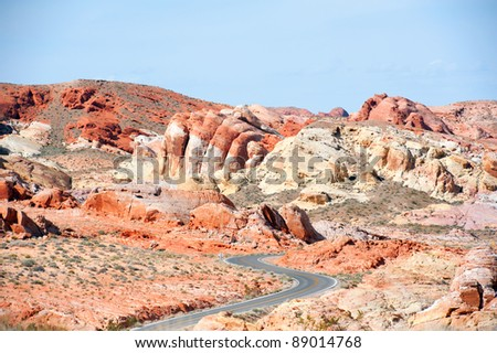 Valley of fire, Nevada's oldest state park, located 50 miles north of Las Vegas. The formations of eroded sandstone and sand dunes create a colorful landscape. - stock photo