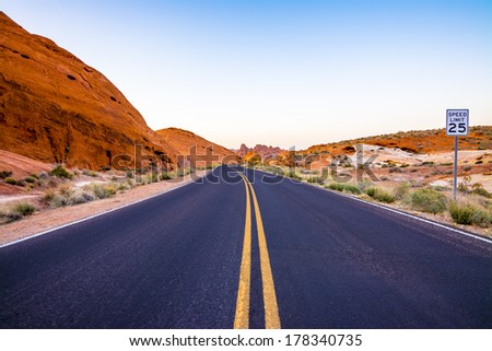 Valley of Fire Road, Valley of Fire State Park, Nevada, USA - stock photo