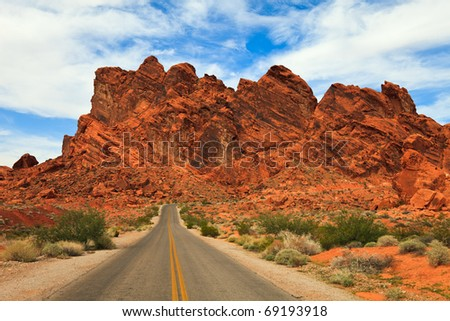 Valley of Fire rock formations in Nevada. - stock photo