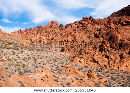 Valley of Fire State Park near Las Vegas, Nevada. Red rocks after which the park gets its name - stock photo
