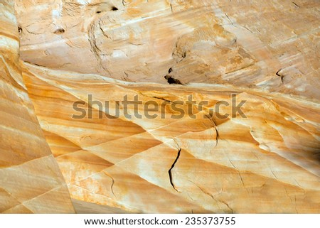 Valley of Fire State Park near Las Vegas, Nevada. Unusual pattern on the stone with different shades of yellow - stock photo